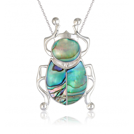 925 Sterling Silver Abalone Mother-of-pearl Beetle Pendant