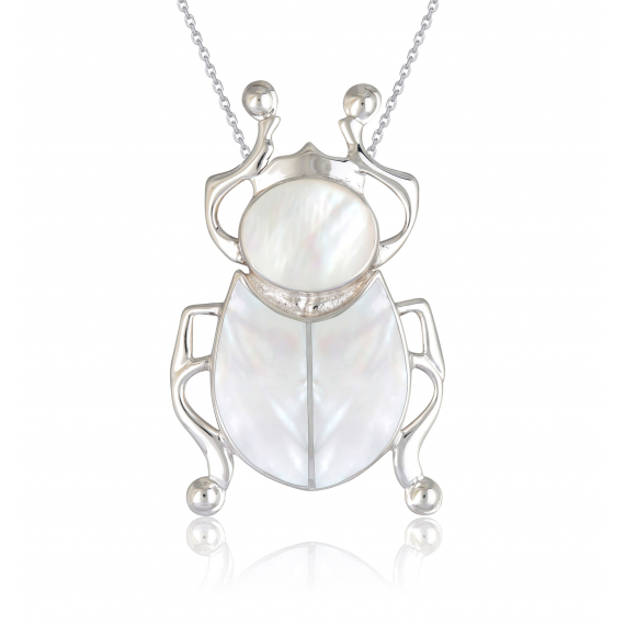 925 Sterling Silver White Mother-of-pearl Beetle Pendant