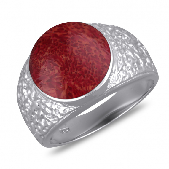 925 Sterling Silver Coral Round Shape Ring