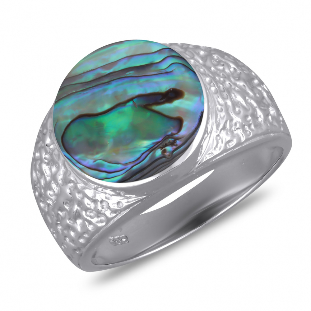 925 Sterling Silver Abalone Mother-of-pearl Round Shape Ring