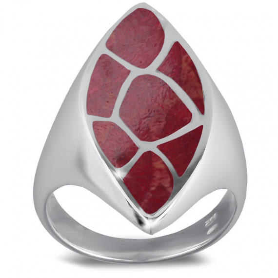 925 Sterling Silver Coral Almond Shape Ring