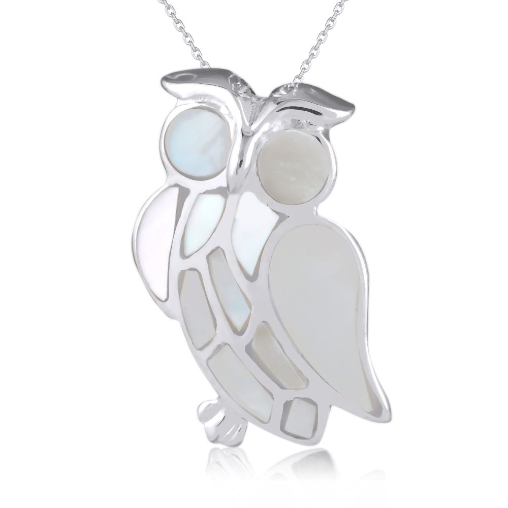 925 Sterling Silver White Mother-of-pearl Owl Pendant