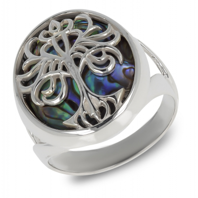 Gift Jewelry Symbol Tree of Life-Ring-Mother of Pearl Abalone- Sterling Silver-Unisex