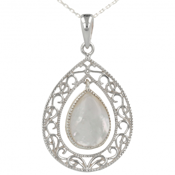 925 Sterling Silver White Mother-of-pearl Oval Shape Pendant