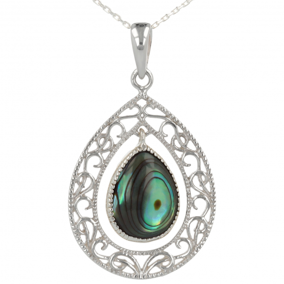 925 Sterling Silver Abalone Mother-of-pearl Drop Shape Pendant