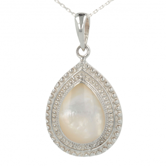 925 Sterling Silver White Mother-of-pearl Pear Shape Pendant