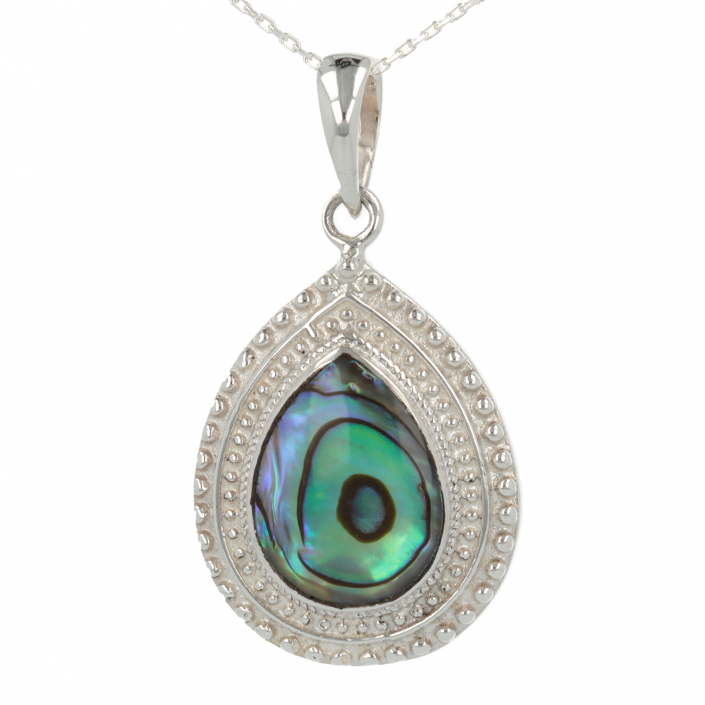 925 Sterling Silver Abalone Mother-of-pearl Pear Shape Pendant