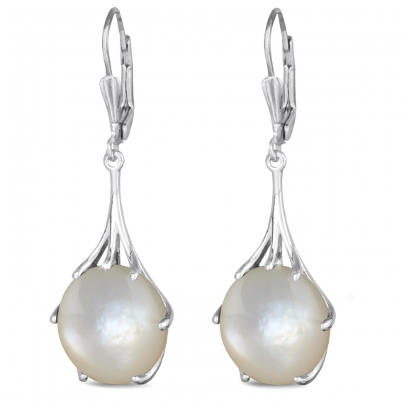 925 Sterling Silver White Mother-of-pearl Oval Shape Earrings