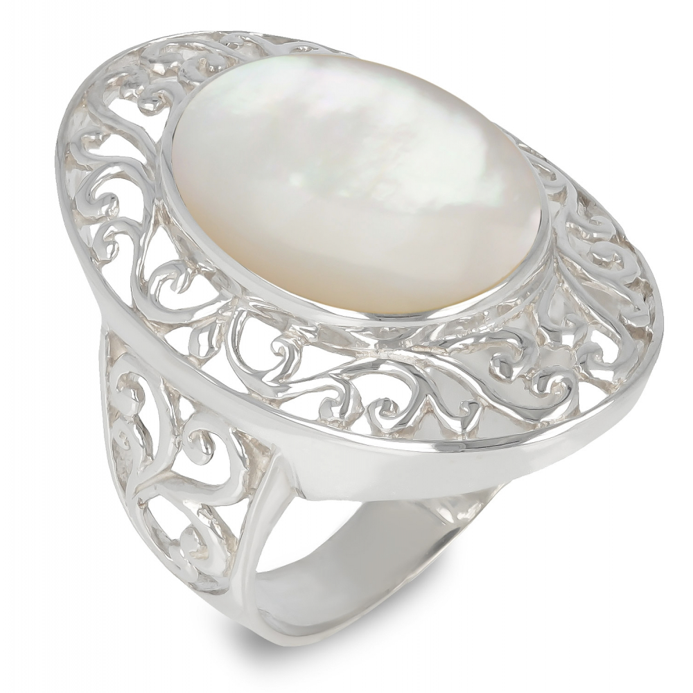 Jewelery Gift-Stylized Ring-Creator-Mother-of-Pearl white-Stylized Ring-Solid Silver-Woman