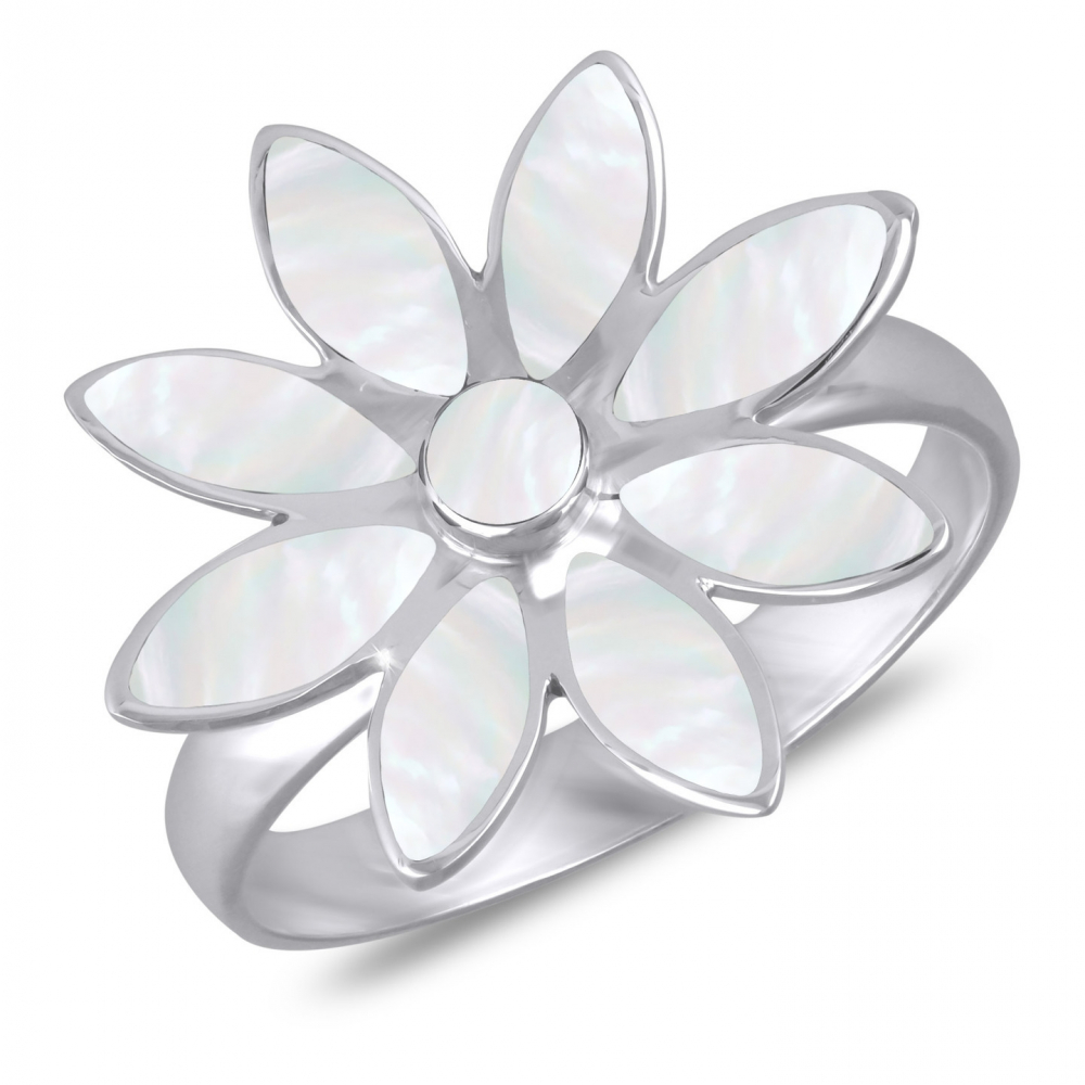 925 Sterling Silver White Mother-of-pearl Flower Ring