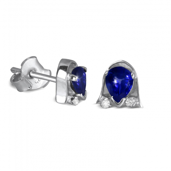 925 Sterling Silver Sapphire and Diamond Earrings