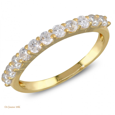 Bague sur mesure - Demi alliance - Femme - Or Jaune ou Or Blanc 18 cts - 11 diamants
