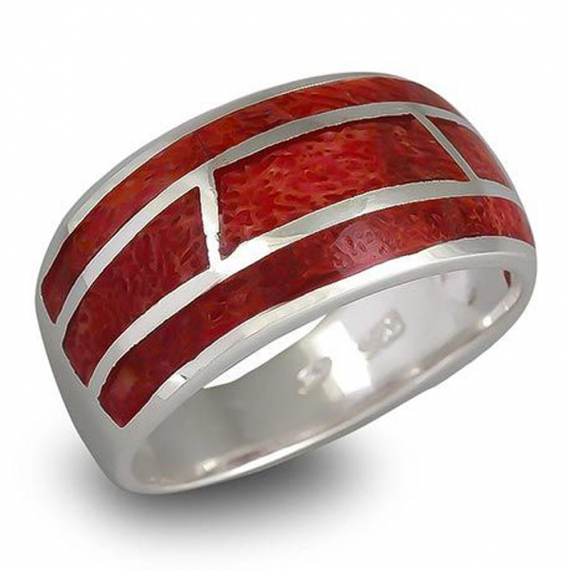 925 Sterling Silver Coral Ring
