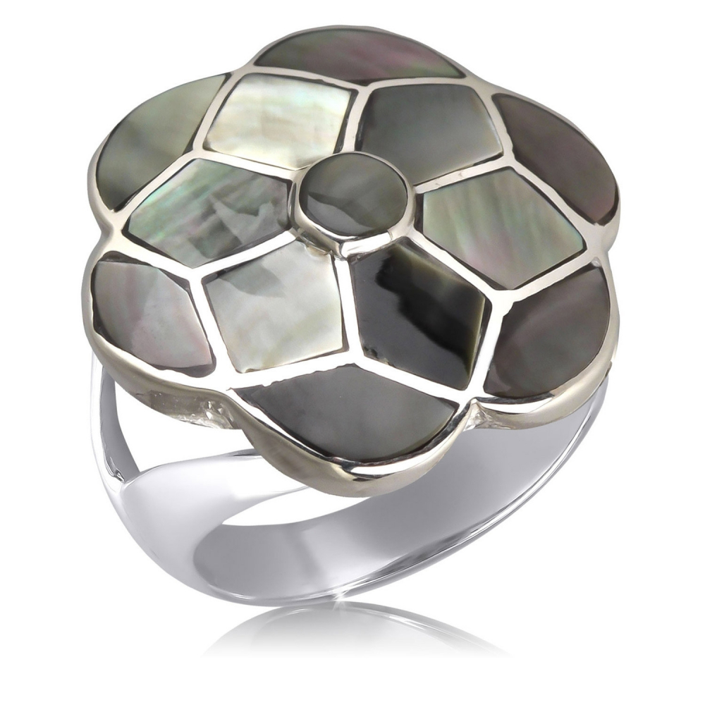 925 Sterling Silver Grey Mother-of-pearl Flower Ring