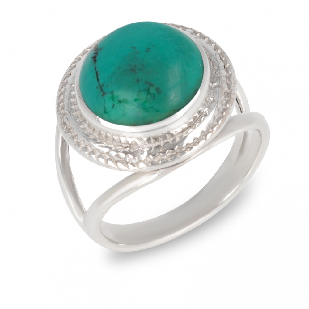 925 Sterling Silver Turquoise Round Shape Ring