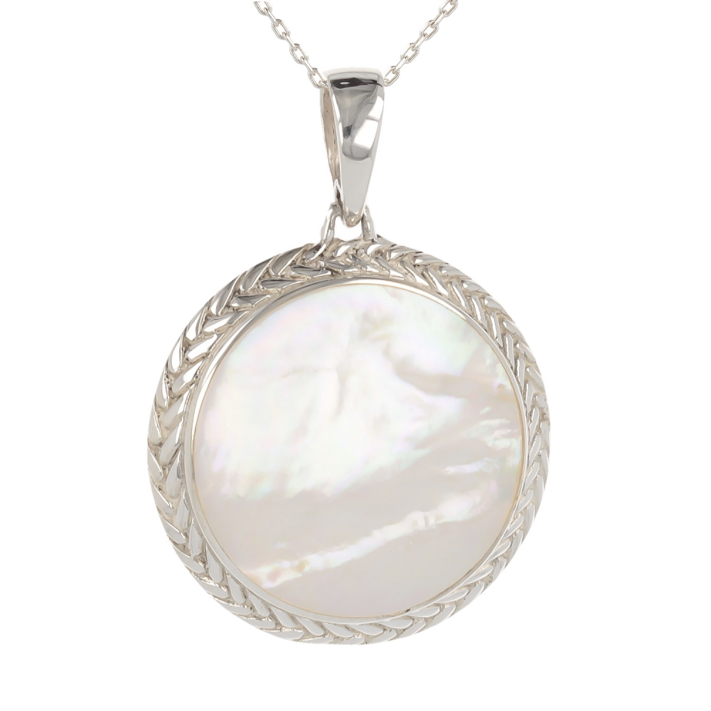 Gift cabochon jewelry-Pendant-Mother of Pearl White- Sterling silver-oval-Woman