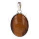 Tiger eye pendant in pear shape finely set with silver-Unique piece