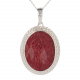 Gift cabochon jewelry-Pendant-Coral- Sterling silver-oval-Woman