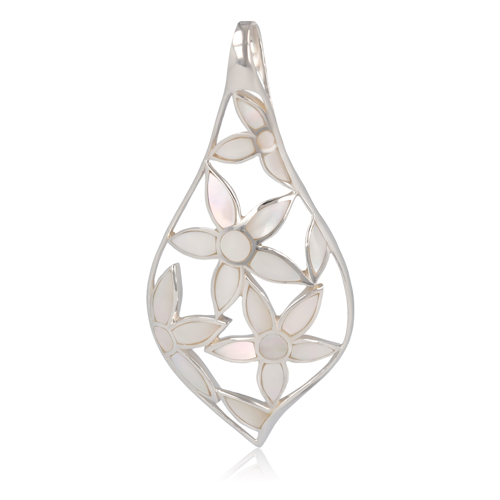 Jewelery Gift- Pendant - Mother of Pearl - Flower-Sterling Silver-Woman