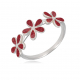 personalized gift woman-Ring- Coral-3 flowers- Sterling silver-Woman