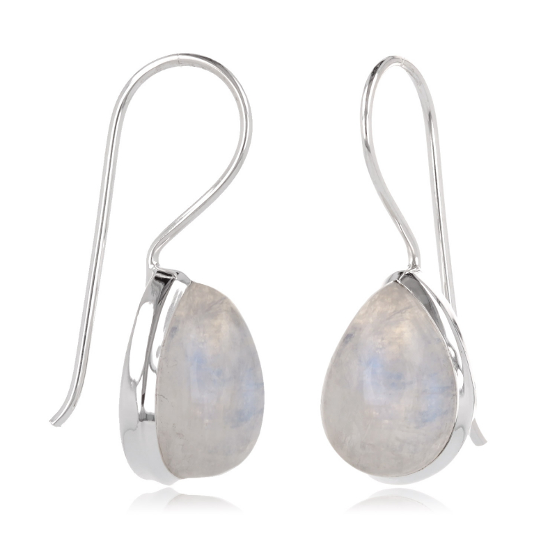 Pear-shaped moonstone earrings set with sterling silver