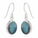 Oval-shaped Labradorite earrings set with sterling silver