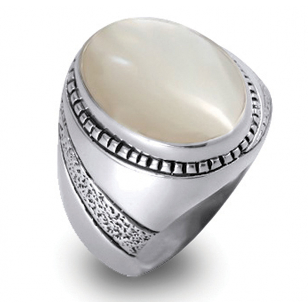 925 Sterling Silver White Mother-of-pearl Ring