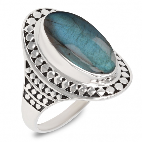 Idea regalo Mom Ring Donna in argento sterling con pietra labradorite