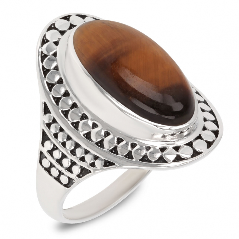 Gift Idea Mom-Ring- Tiger eye Stone-Sterling Silver-Woman-brown
