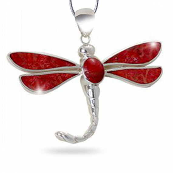 925 Sterling Silver Coral Dragonfly Pendant