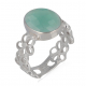 Gift Idea Mom-Ring- apatite Stone-Sterling Silver-Woman-green-Ring Flower