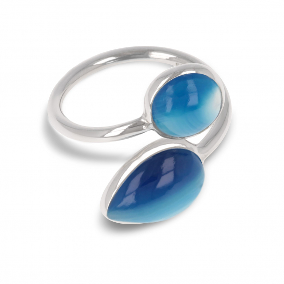 925 Sterling Silver Blue Agate Ring