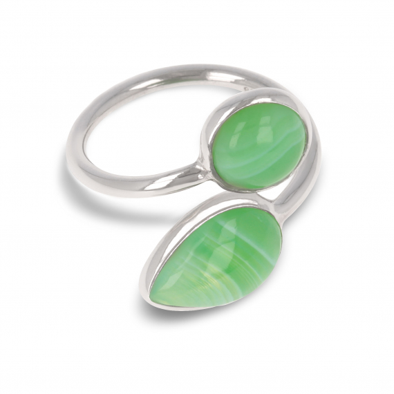 925 Sterling Silver Green Agate Ring