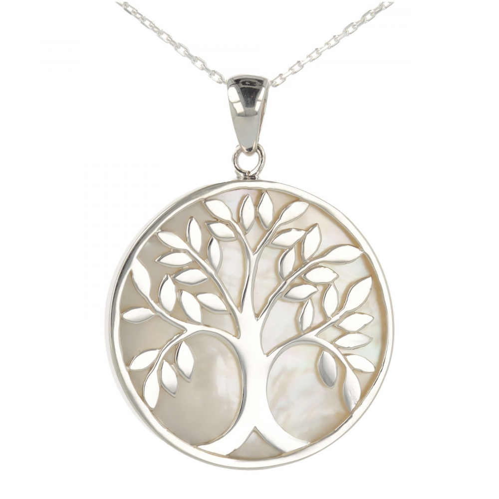 Jewelery Gift Symbol Tree of Life-Pendant -Mother of pearl- Sterling Silver-Round-Woman