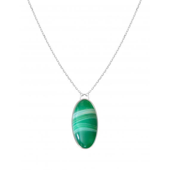 925 Sterling Silver Green Agate Necklace