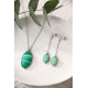 original gift woman Necklace woman green agate and rhodium silver 925-000