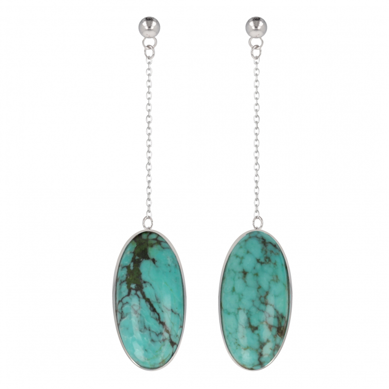 original gift woman earrings woman Turquoise and rhodium silver 925-000