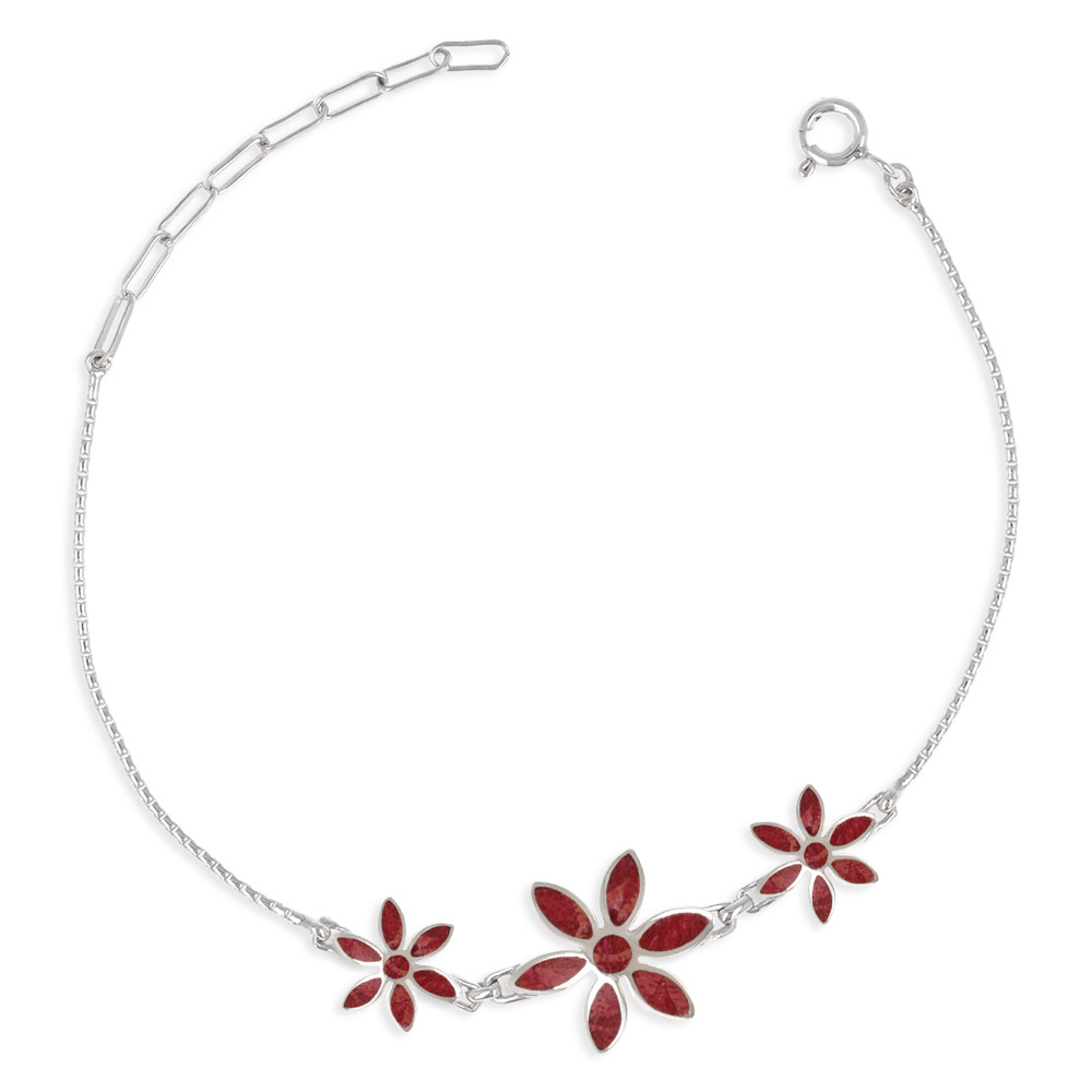 personalized gift woman-Bracelet - Coral-3 flowers- Sterling silver-Woman