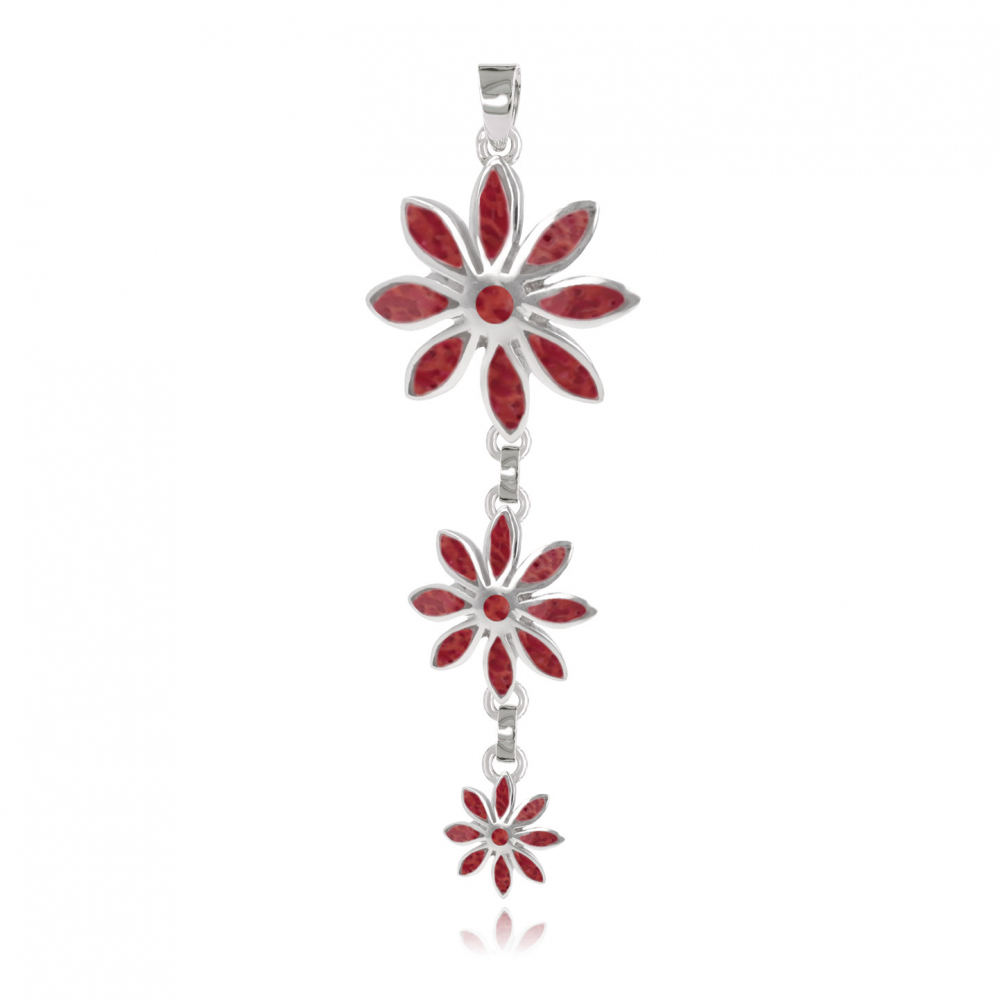 personalized gift woman-Pendant - Coral-3 flowers- Sterling silver-Woman