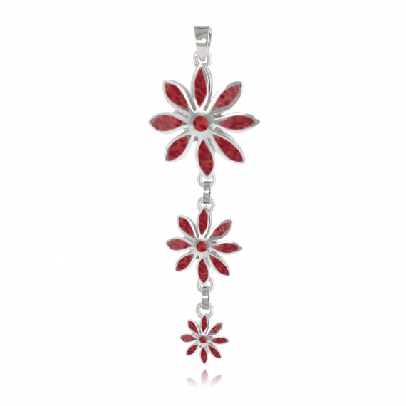 925 Sterling Silver Coral Flower Pendant