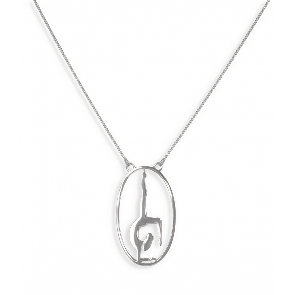 Gift Idea Jewelry Zen Collection-Necklace-yoga- Sterling Silver-oval-Woman