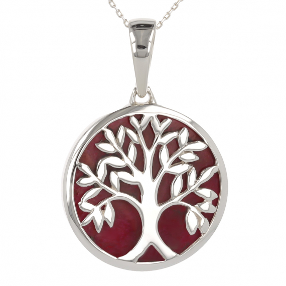 925 Sterling Silver Coral Tree of Life Round Shape Pendant
