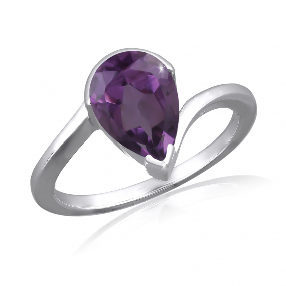 925 Sterling Silver Faceted Amethyst Pear Shape Ring