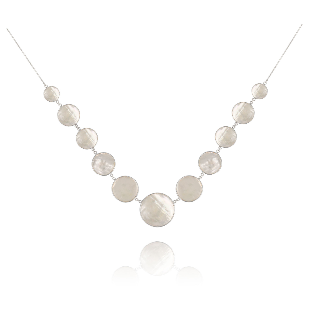 Gift Idea Jewelry Necklace Mother of Pearl white- Sterling silver round-shaped woman