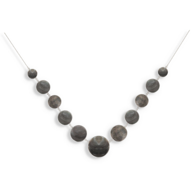 Collier Nacre grise Argent massif forme ronde