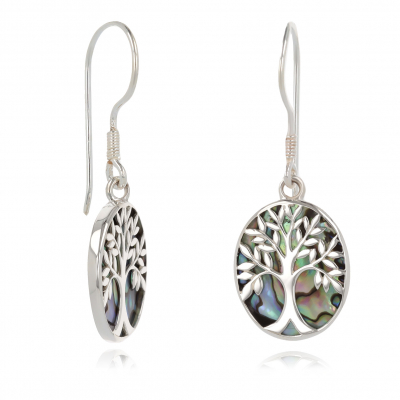 Jewelery Gift Symbol Tree of Life-Earrings-Mother of pearl- Sterling Silver-Oval-Women