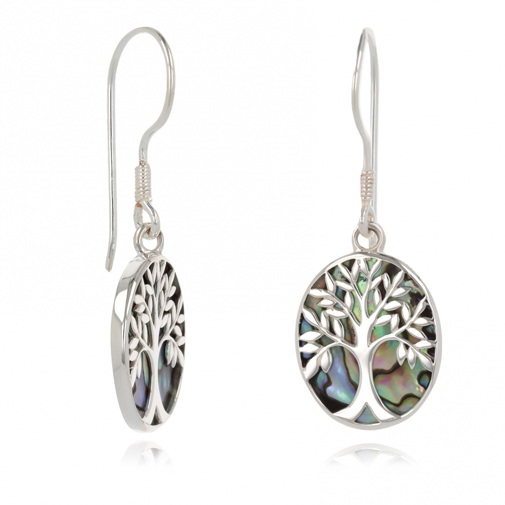 925 Sterling Silver Abalone Mother-of-pearl Tree of Life Oval Shape Earrings