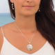 personalized gift woman-Pendant - White mother-of-pearl- Sterling silver-round-Woman