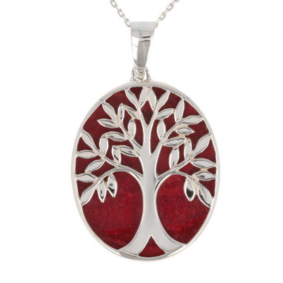 925 Sterling Silver Coral Tree of Life Oval Shape Pendant