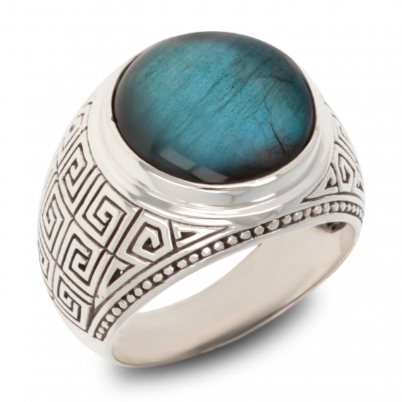 Antique Effect 925 Sterling Silver Labradorite Biker Ring